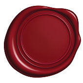 Red wax Seal Isolated on White Background, Vector Illustration eps 10