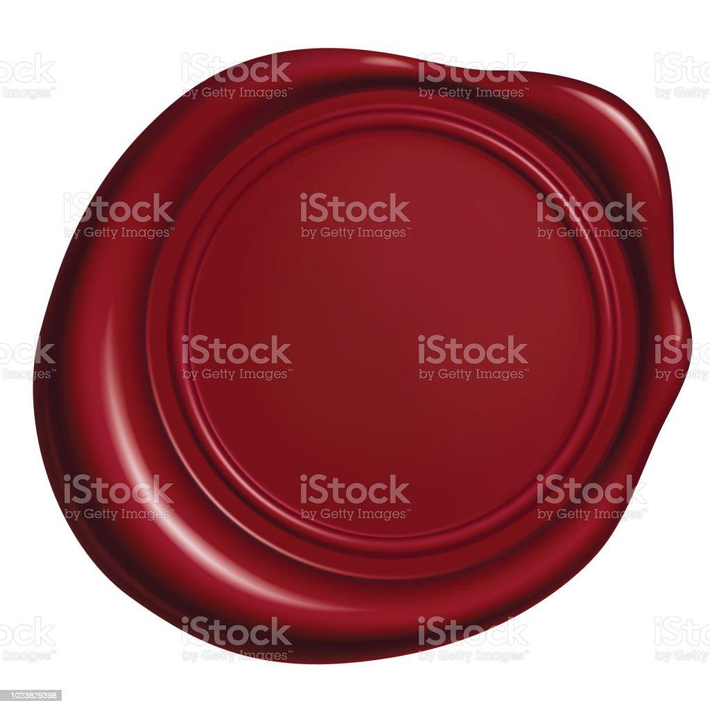 Rotes Wachs Siegel isoliert auf weißem Hintergrund, Vektor-Illustration Eps 10 – Vektorgrafik