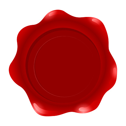 Red wax Seal Isolated on White Background, Vector Illustration