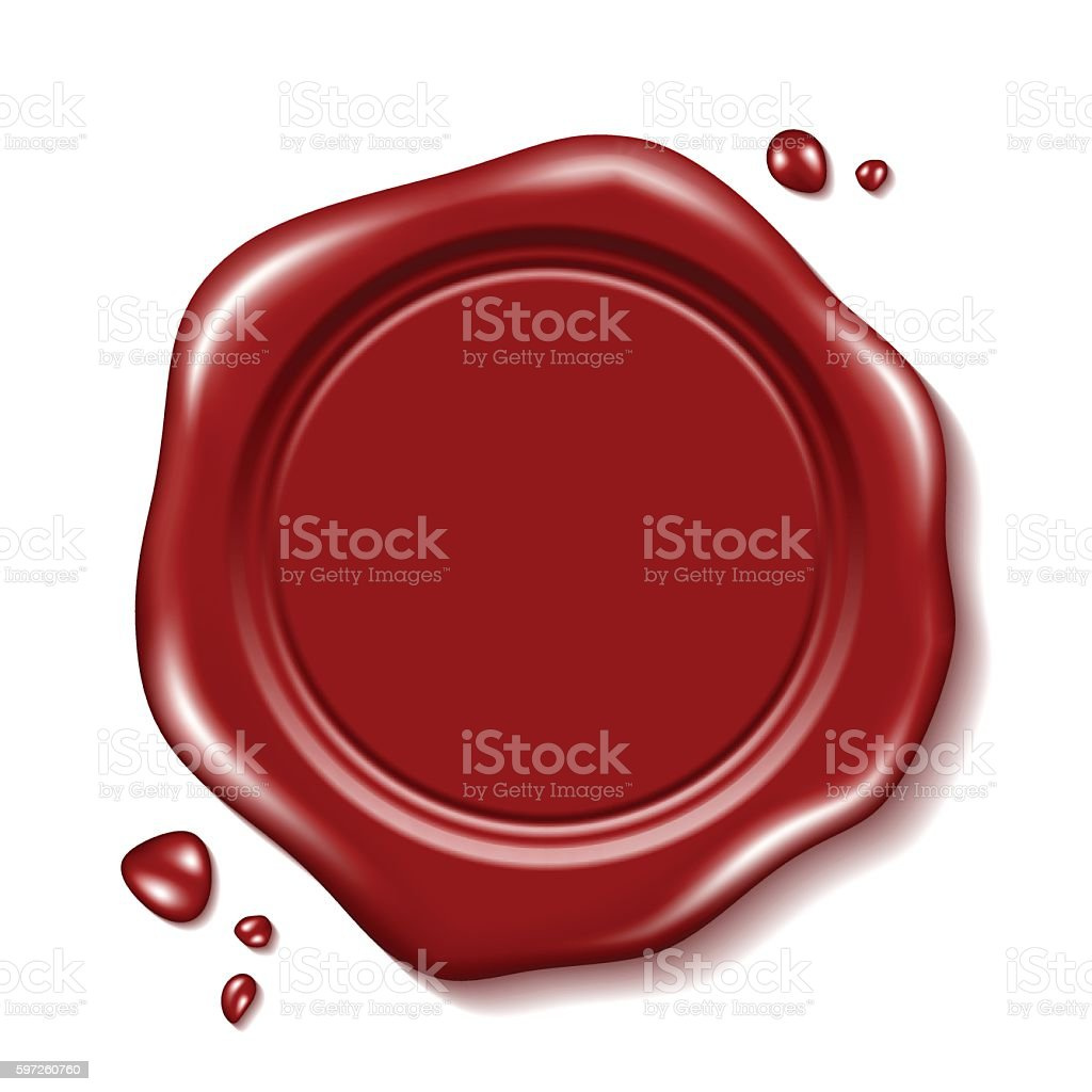 Red wax seal vector art illustration