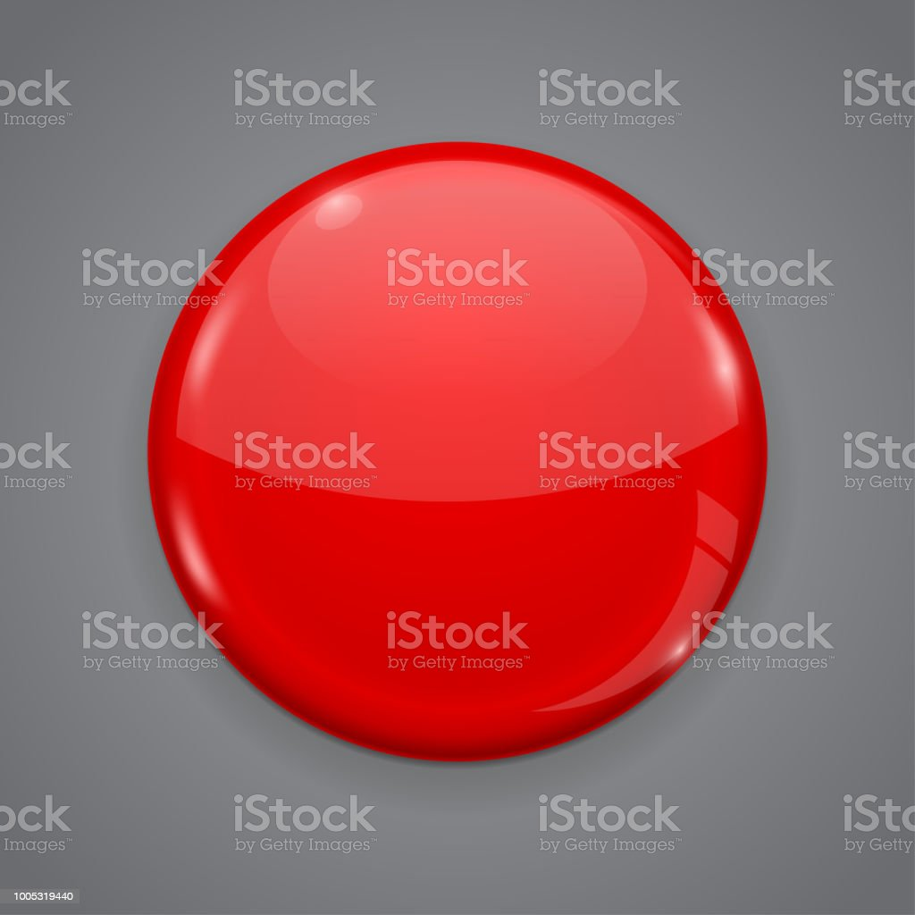 Red Web Button On Gray Background Round 3d Icon Stock