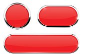 Red web icons. Buttons with chrome frame