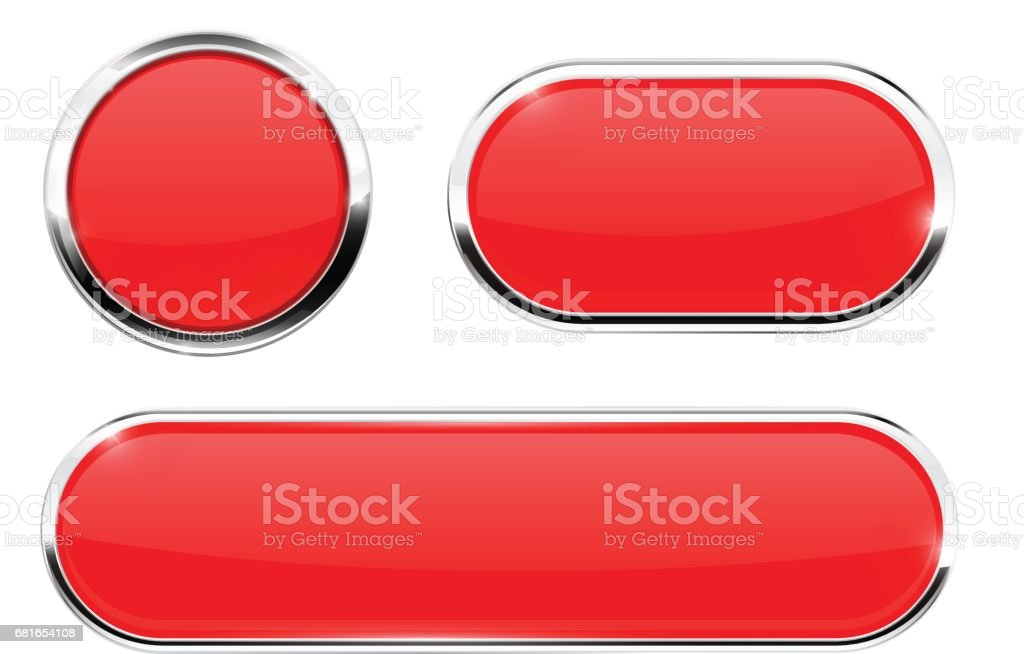 Red web icons. Buttons with chrome frame vector art illustration