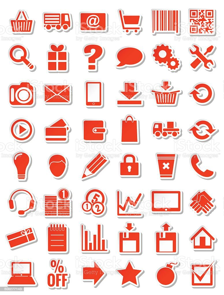 red web icons for eshop vector art illustration