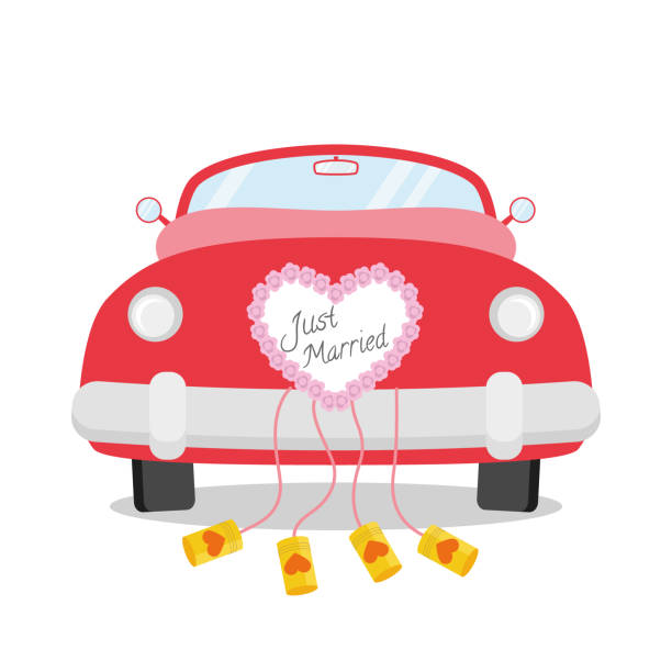 bildbanksillustrationer, clip art samt tecknat material och ikoner med röd bröllops bil sett bakifrån med hjärta dekoration och just gift skrivet på den. bröllop ikon koncept vektor illustration - nygift