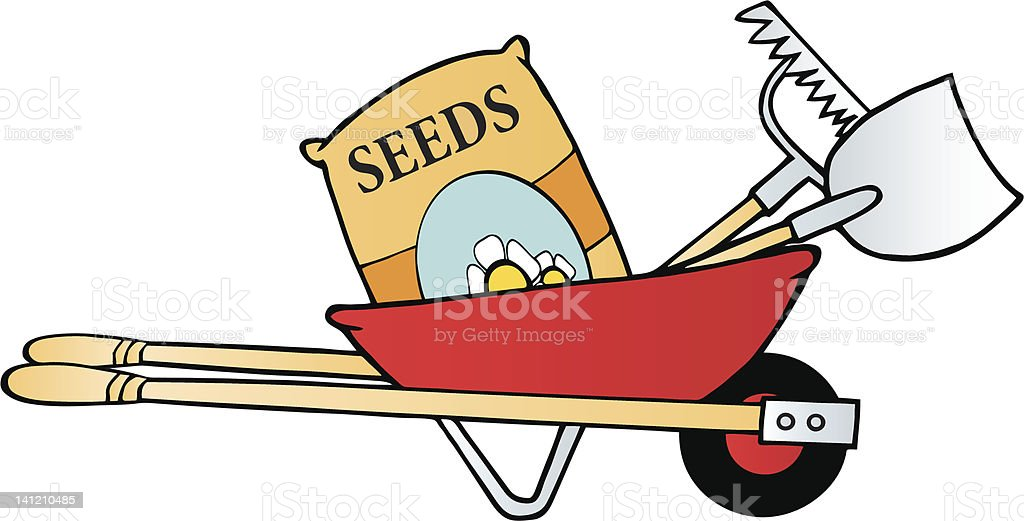 Red wheelbarrow with garden tools and seeds stock vector for Gardening tools cartoon