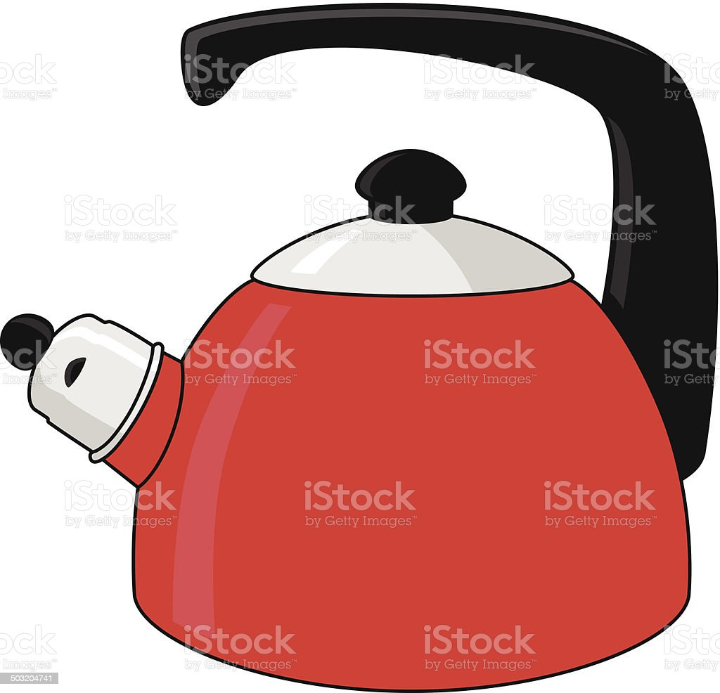 Red  whistling kettle royalty-free stock vector art