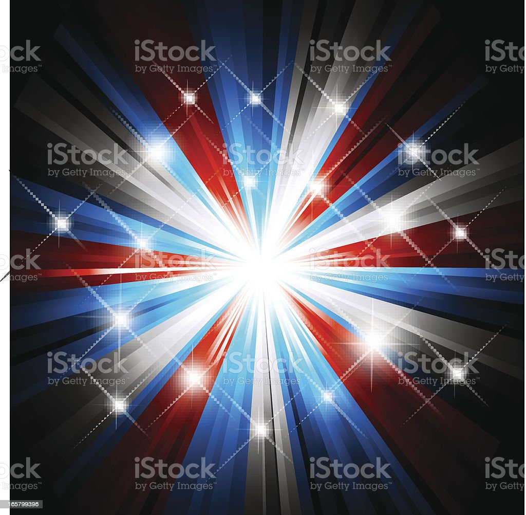 Red white and blue firework and lights background royalty-free stock vector art