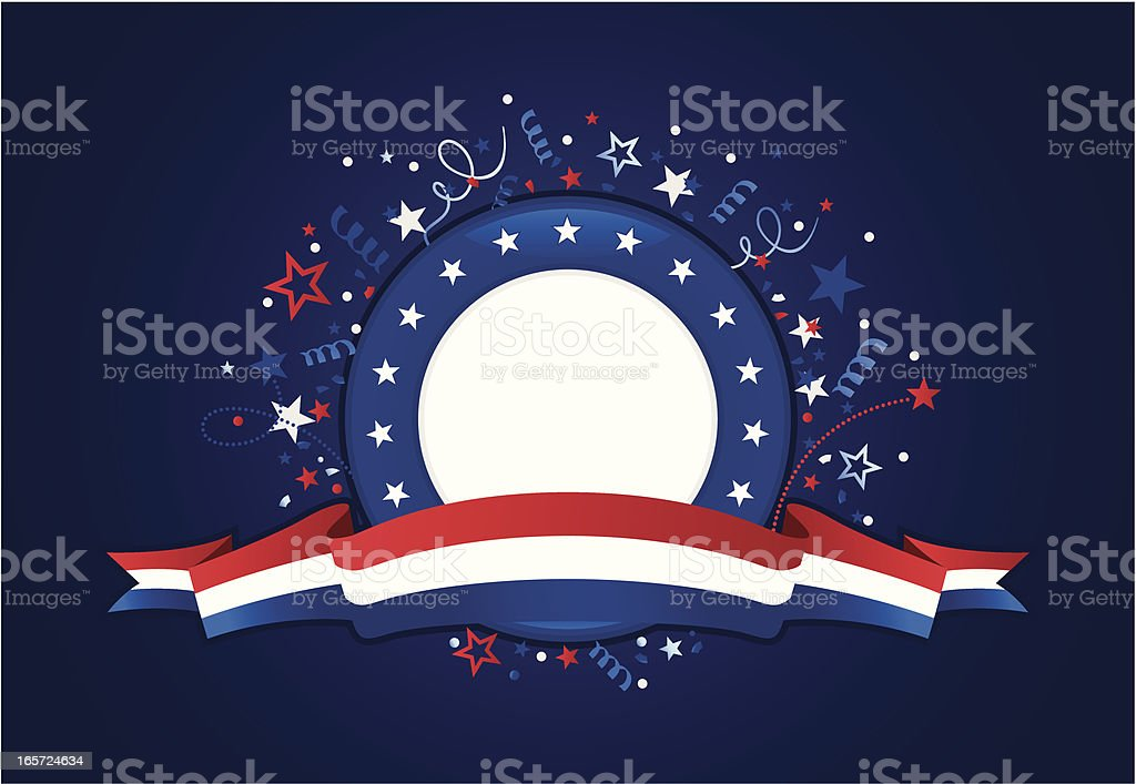 A red, white and blue graphic of patriotism vector art illustration