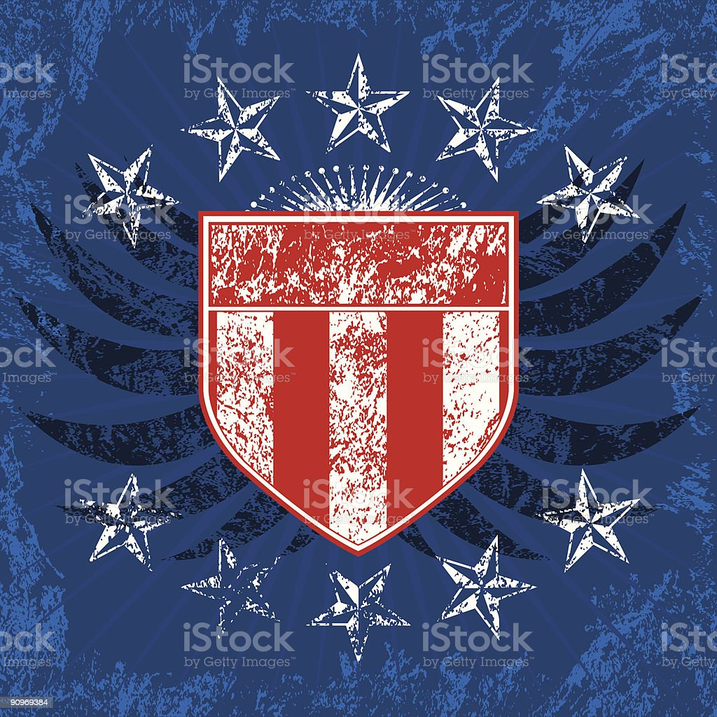 Red White and Blue Grunge Shield royalty-free red white and blue grunge shield stock vector art & more images of armed forces