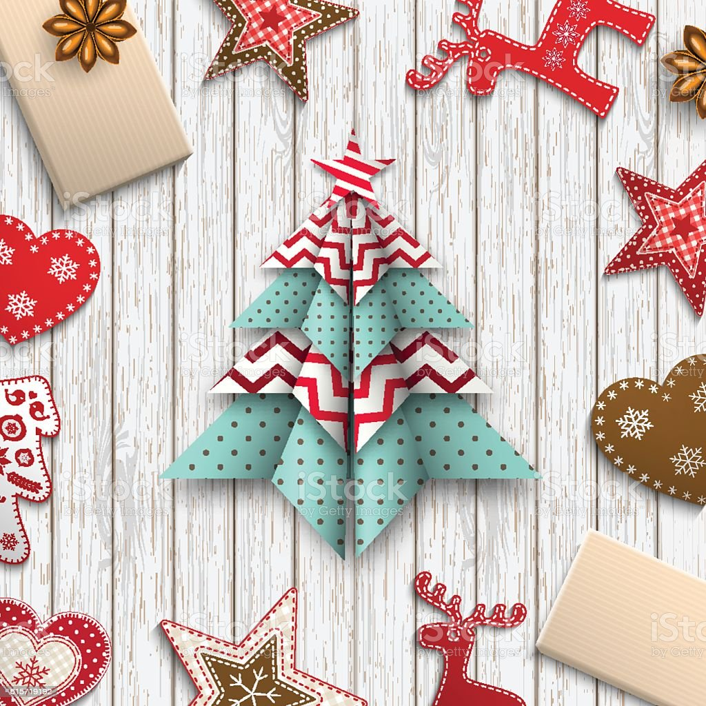 red, white and blue origami chritmas tree, holiday theme, illustration vector art illustration