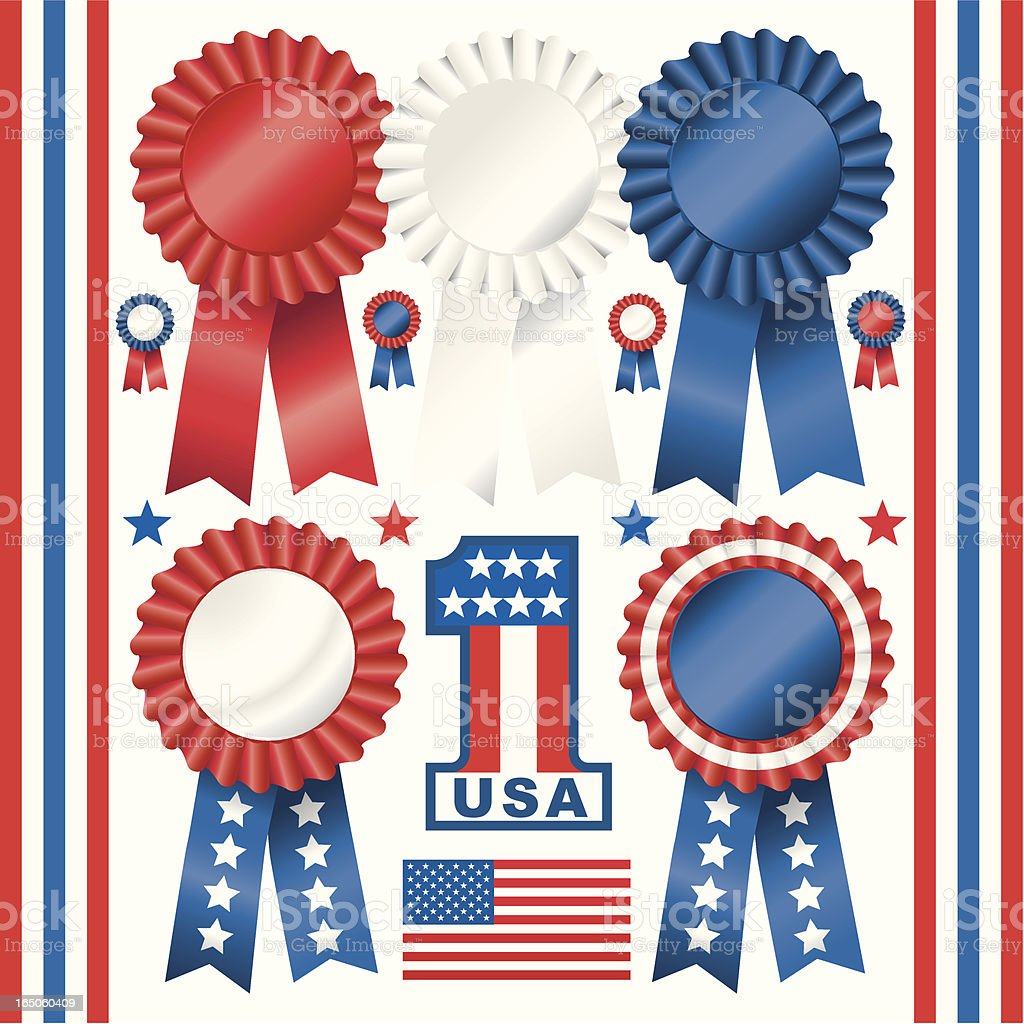 Red White and Blue Rosettes royalty-free stock vector art