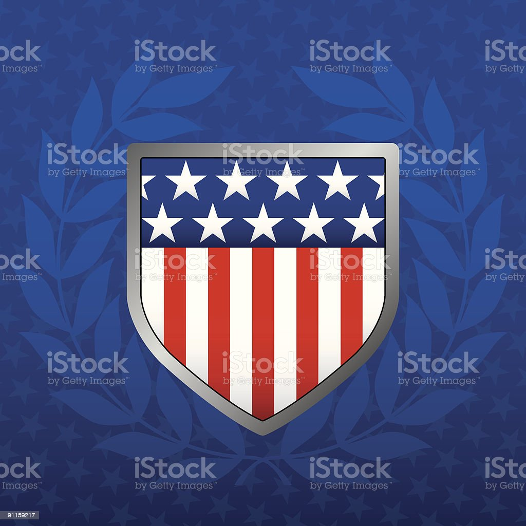 Red White and Blue Shield on a Star Background royalty-free red white and blue shield on a star background stock vector art & more images of american flag