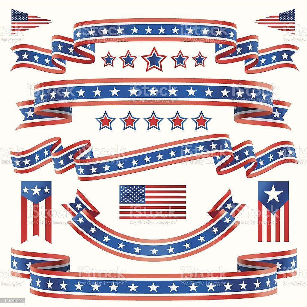 Rojo, blanco y Blue Star banners - ilustración de arte vectorial