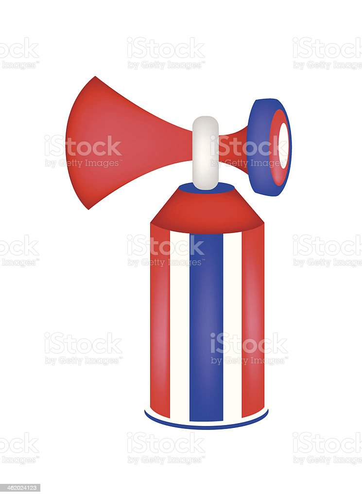 Red, White and Blue Stripe of Air Horn vector art illustration