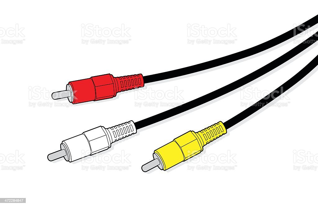 Red, white and yellow AV cables royalty-free red white and yellow av cables stock vector art & more images of activity