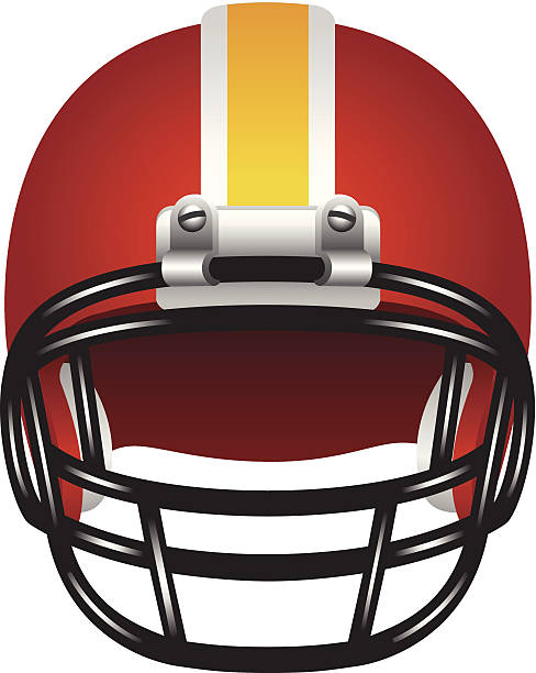 Red, white and yellow football helmet with black face guard vector art illustration