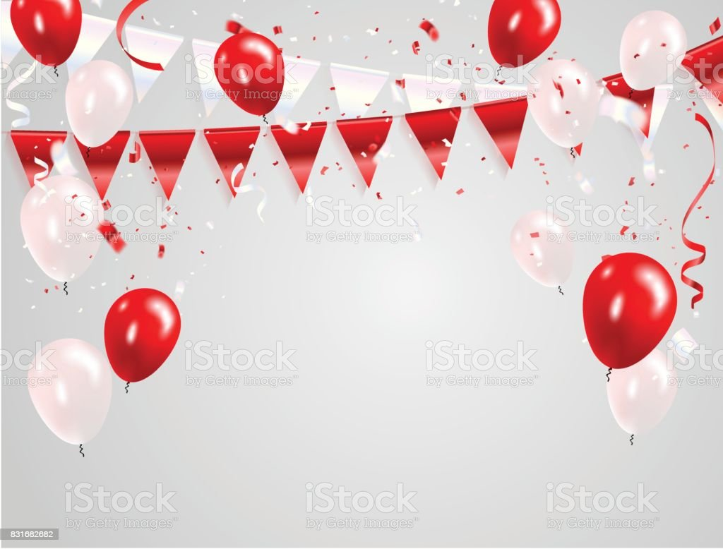 Red White balloons, confetti concept design 17 August Happy Independence Day greeting background. Celebration Vector illustration. vector art illustration