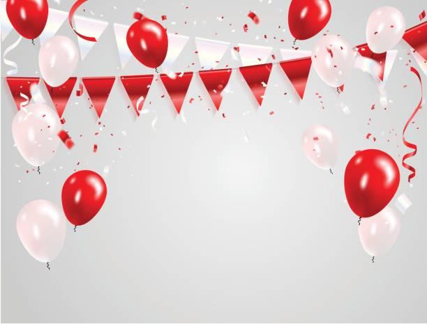 stockillustraties, clipart, cartoons en iconen met 17 augustus happy independence day begroeting achtergrond ontwerp met rood witte ballonnen, confetti concept. viering vectorillustratie. - indonesische vlag