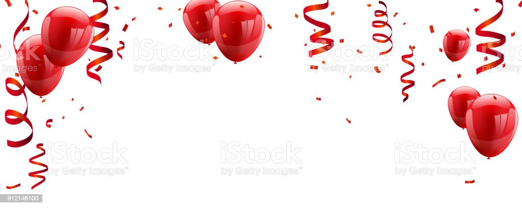 Red White balloons, confetti concept design template Happy Valentine's Day, background Celebration Vector illustration.