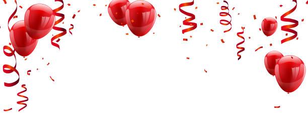 rot weiße luftballons, konfetti konzept design vorlage happy valentinstag, hintergrund-feier vektor-illustration. - ballon stock-grafiken, -clipart, -cartoons und -symbole