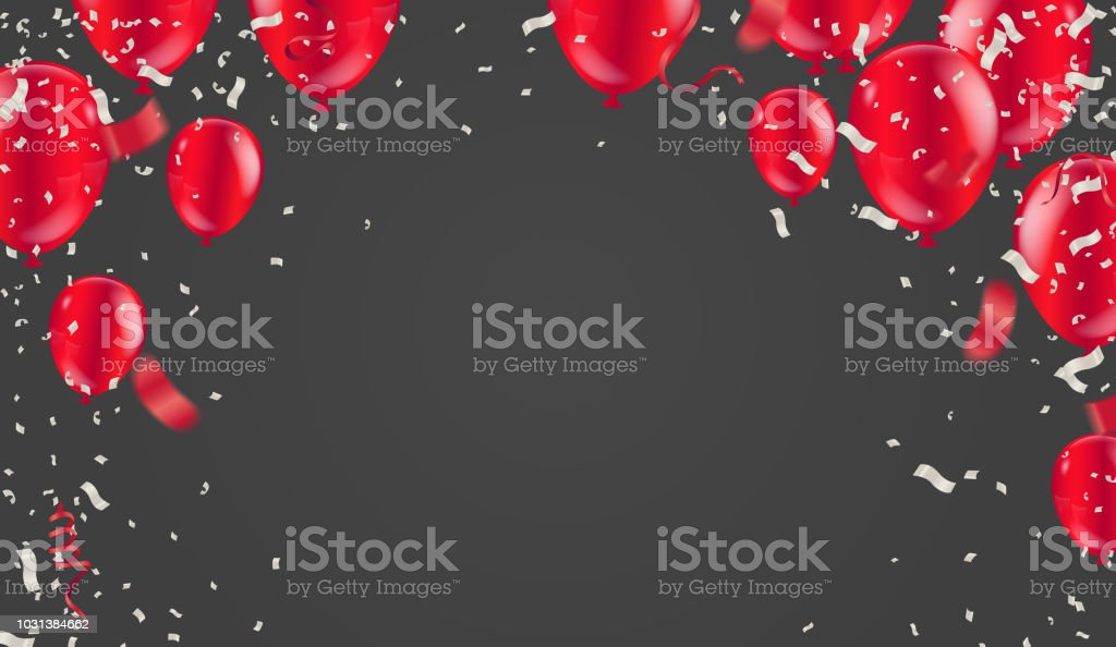 Red White balloons, confetti concept design with isolated on white background. 3D illustration of celebration, party balloons vector art illustration