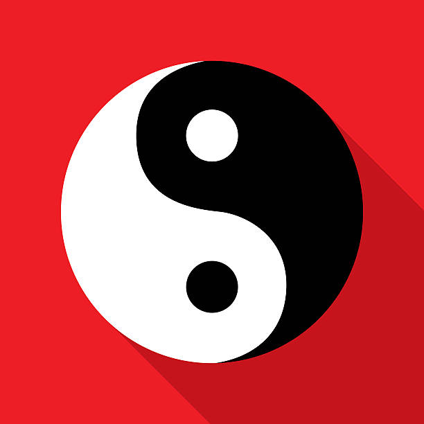 Red White Black Yin Yangicon Vector illustration of a black and white yin yang symbol with shadow on a red background. yin yang symbol stock illustrations
