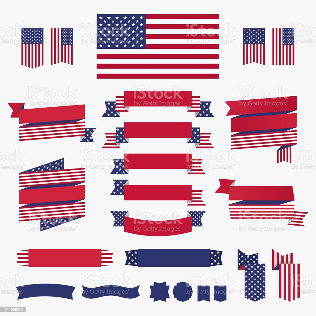 Red white blue american flag, ribbons and banners vector art illustration