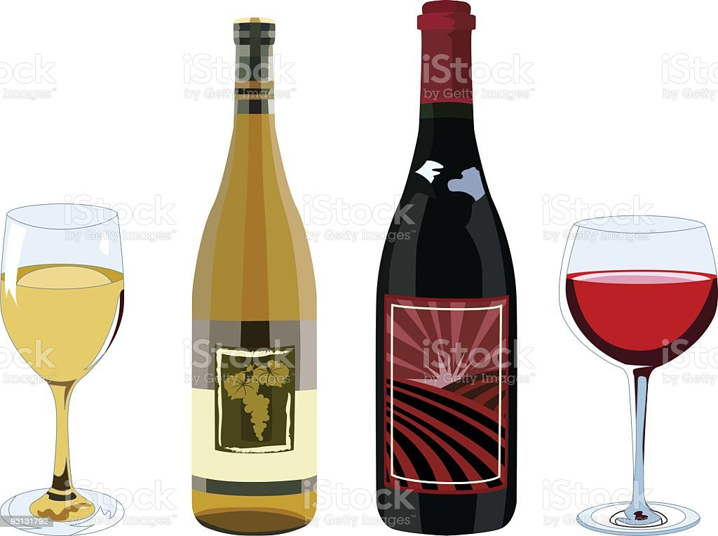 Red & White Corked Wine Bottles and Filled Glasses royalty-free stock vector art