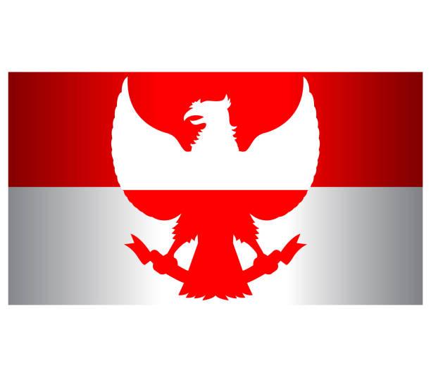 stockillustraties, clipart, cartoons en iconen met rood witte garuda indonesia vlag breedbeeld - indonesische cultuur