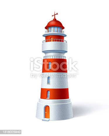 istock Red White Lighthouse 1318025940