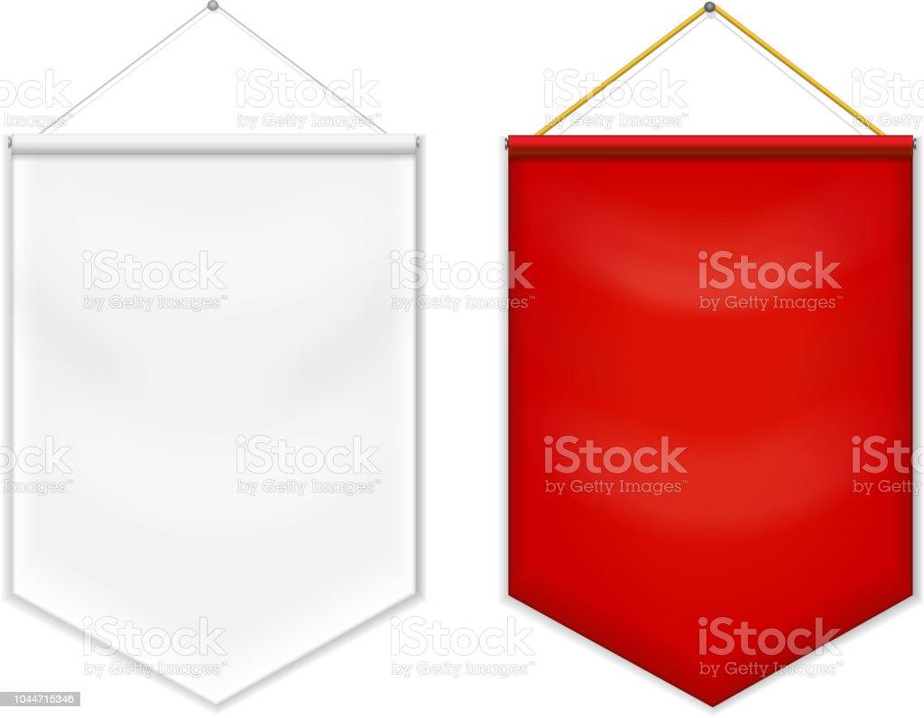 Vector en blanco de la plantilla de rojo banderín blanco. - ilustración de arte vectorial