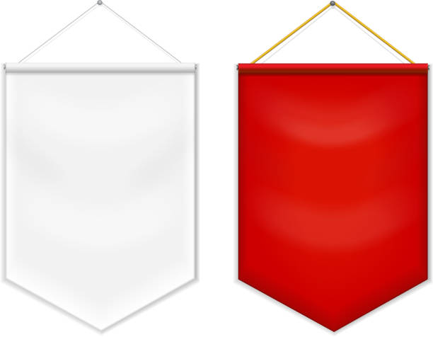 Red white pennant template blank vector. Red white pennant template blank vector. pennant stock illustrations