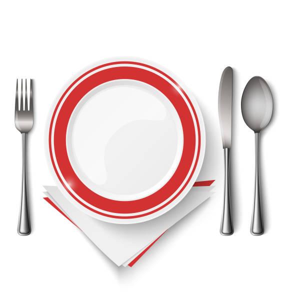 bildbanksillustrationer, clip art samt tecknat material och ikoner med röd vit tallrik med sked kniv och gaffel mall - empty plate
