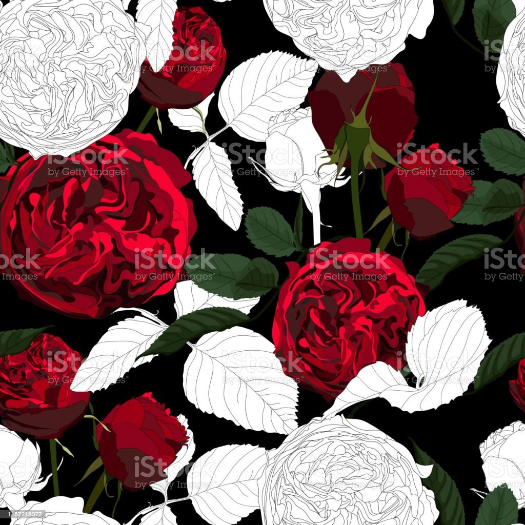 Red White Roses Flowers With Leaves Seamless Pattern Black