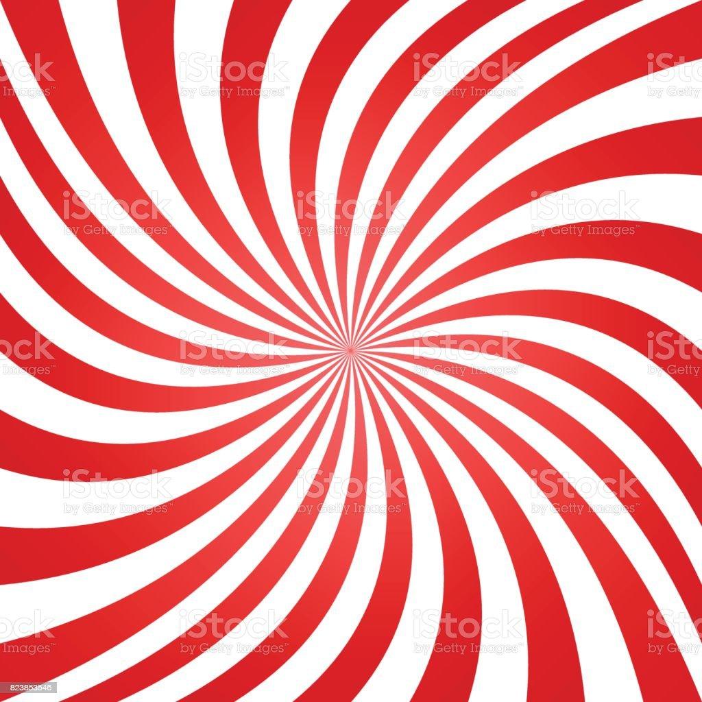 Rot weiß Sommer Spirale Ray Hintergrund – Vektorgrafik
