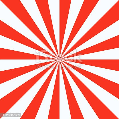 Red white sunbeam background. Red striped abstract wallpaper. Vector illustration.