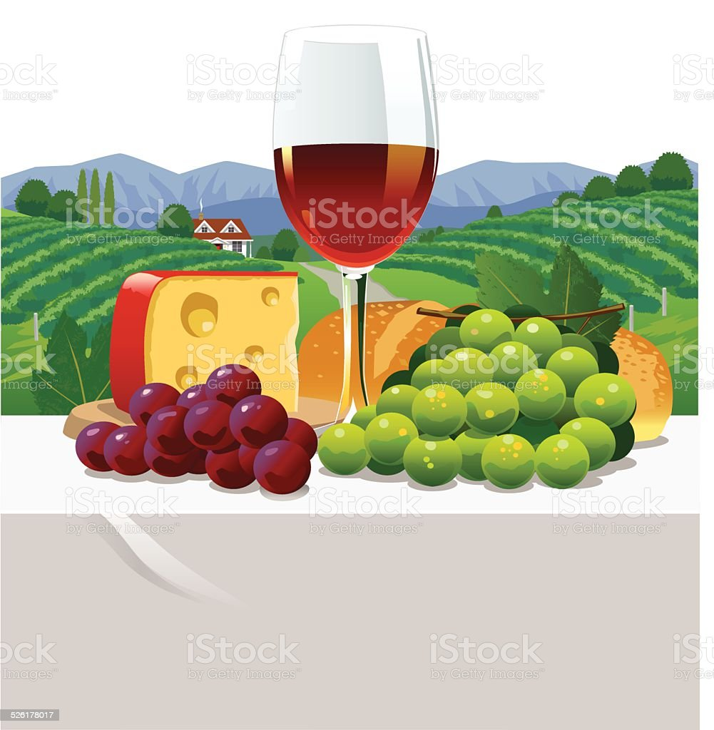 Red Wine and Cheese vector art illustration