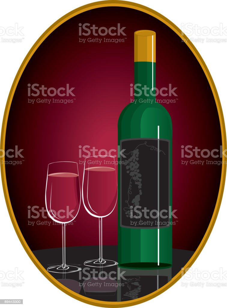 Red Wine and Glasses in burgundy oval with gold trim royalty-free red wine and glasses in burgundy oval with gold trim stock vector art & more images of alcohol