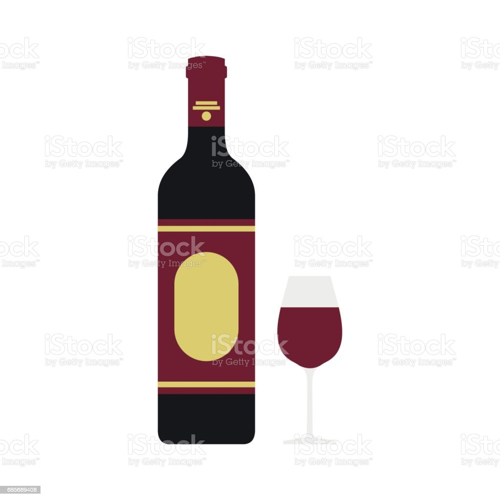 紅酒的酒瓶和酒杯圖示,平面樣式 免版稅 紅酒的酒瓶和酒杯圖示平面樣式 向量插圖及更多 冰 圖片