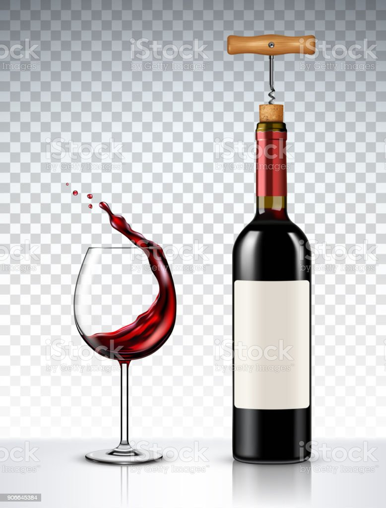 Red Wine bottle and glass on transparent background vector art illustration