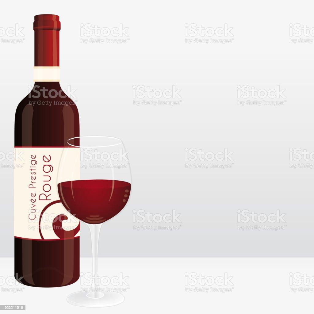 Flasche Rotwein Und Weinglas Marketingvektorillustration ...