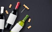 Red Wine bottle, cork and corkscrew concept design for wines card in dark background. Drink menu. Bottled alcohol beverage. EPS10 vector illustration.