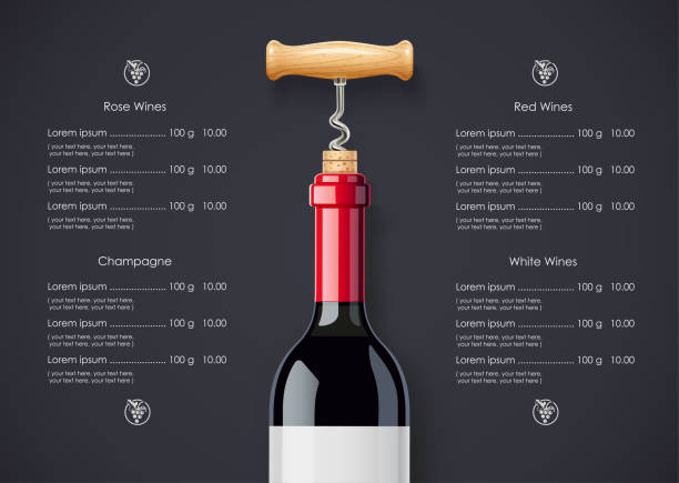 ilustrações de stock, clip art, desenhos animados e ícones de red wine bottle, cork and corkscrew concept design for wines list - vinho
