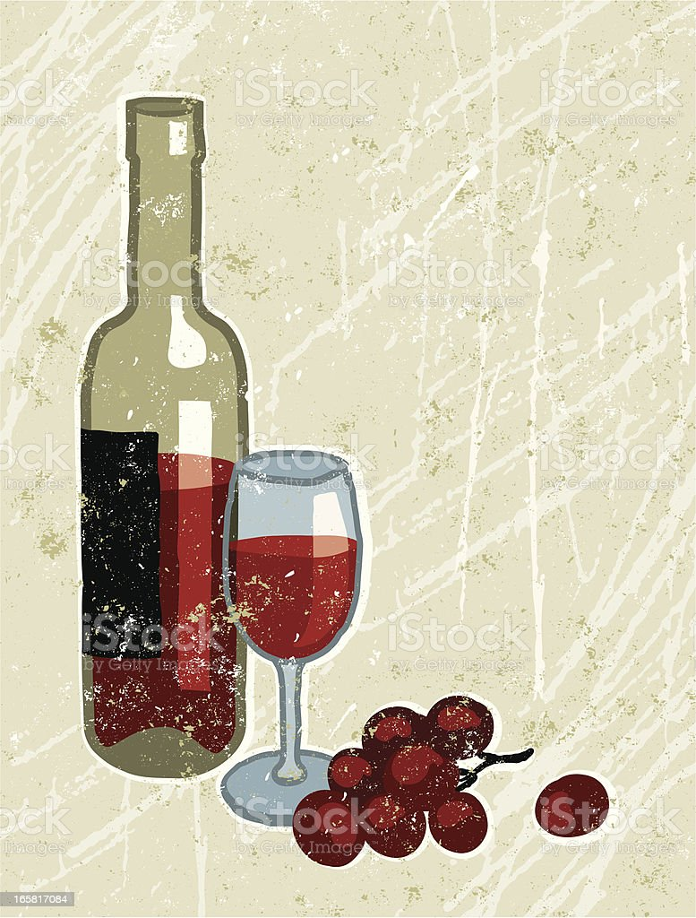 Red Wine, bottle, glass and grapes royalty-free stock vector art