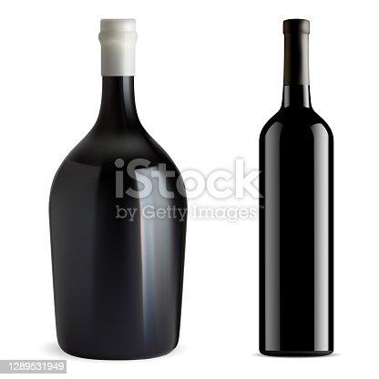 istock Red wine bottle isolated. Glass vector blank, vine 1289531949