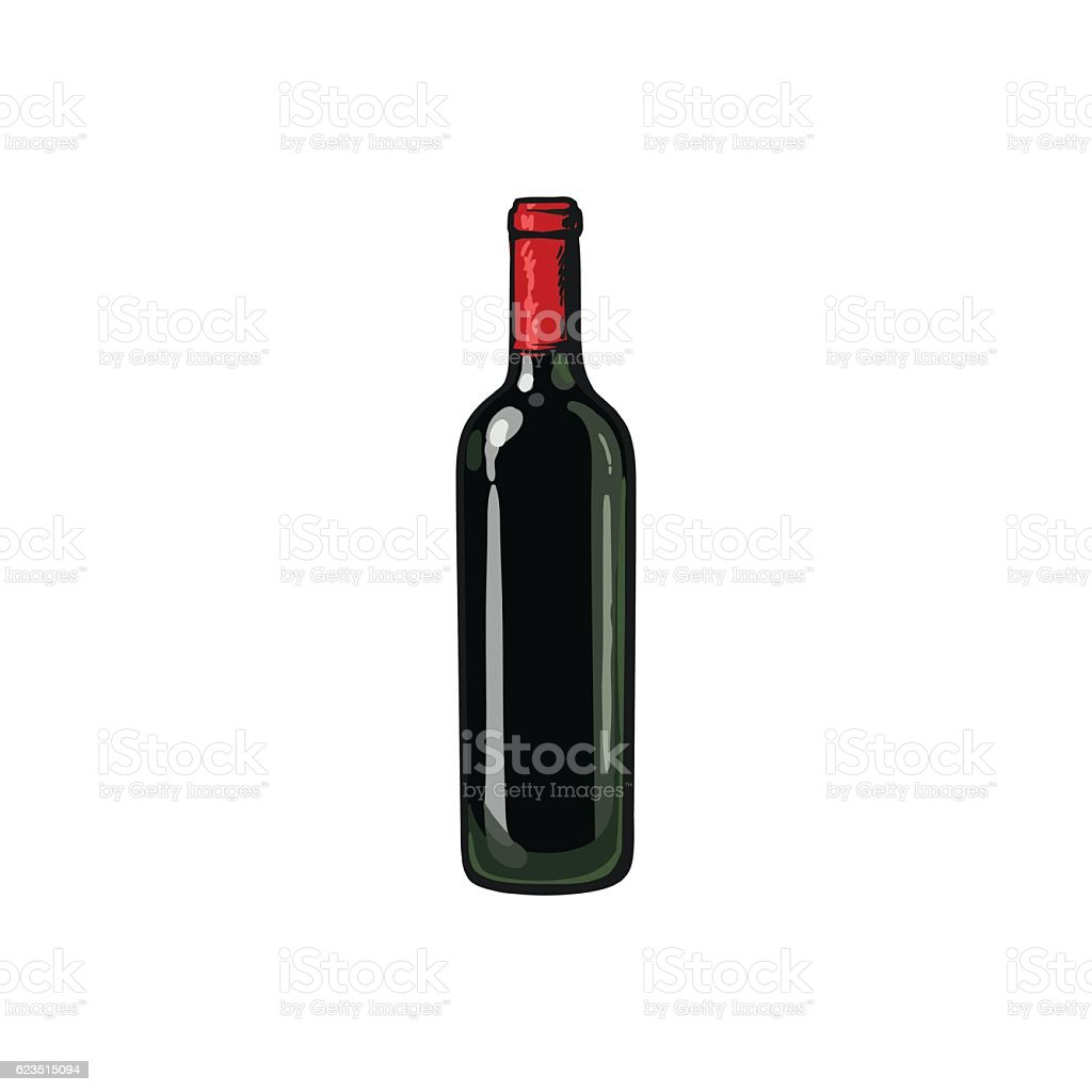Red wine bottle, isolated sketch style vector illustration - Illustration vectorielle