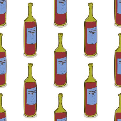 Red Wine Bottles Seamless Pattern