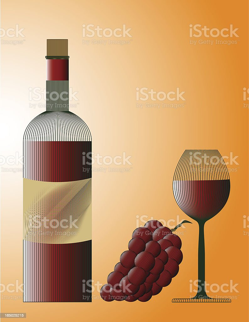 Red wine concept with bottle, grape and glass  (eps) royalty-free stock vector art
