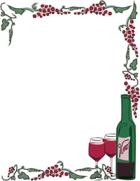 Red Wine Frame with grapes, bottle and glasses vector art illustration